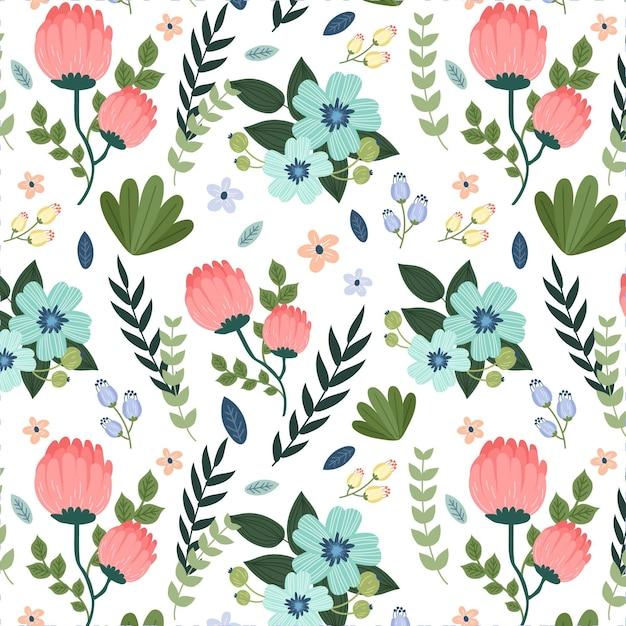 塗られた葉とエキゾチックな花のパターン 無料ベクター