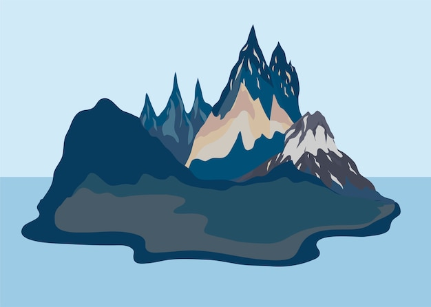 Painted mountain view landscape illustration Free Vector