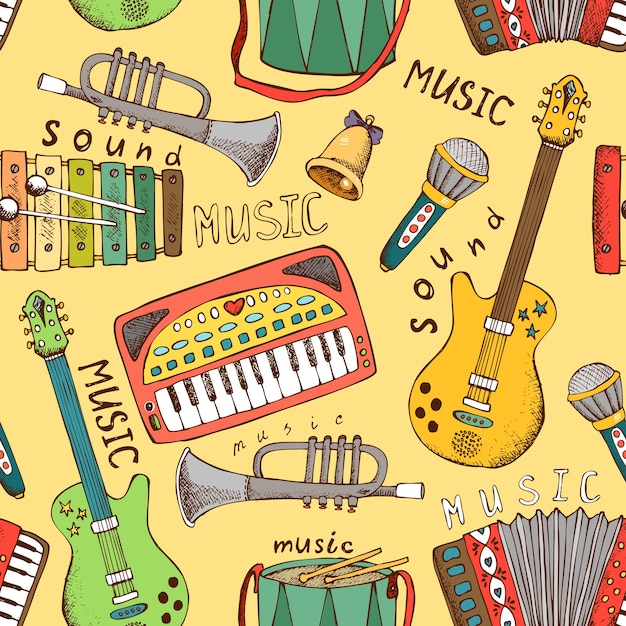 Painted musical instrument seamless pattern vector illustration Free Vector