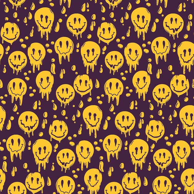 Painted psycho distorted emoticon pattern template Premium Vector
