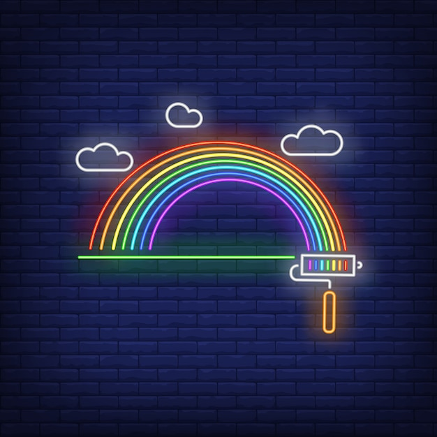 Painted rainbow neon sign Free Vector