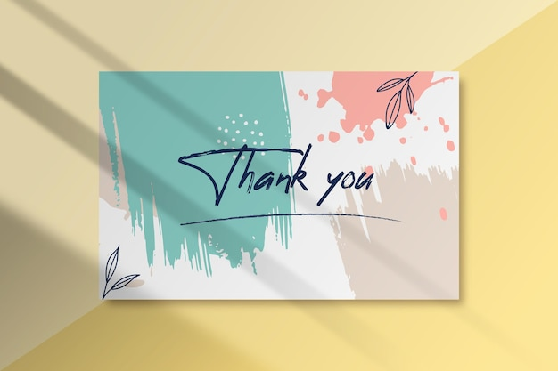 Painted thank you label template Free Vector