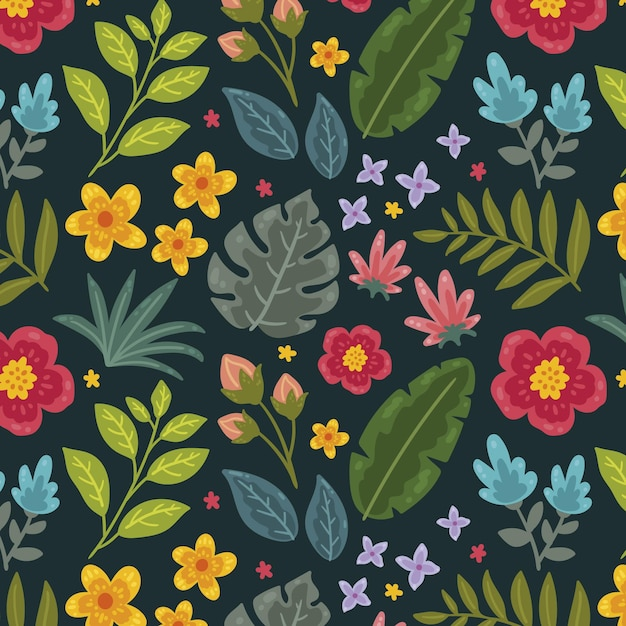 그린 된 열대 꽃 패턴 무료 벡터