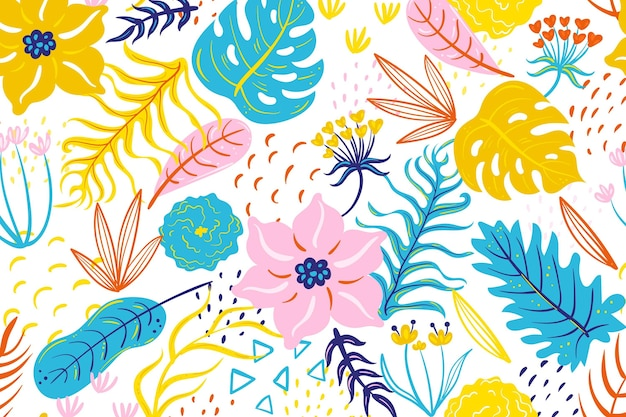 Окрашенный тропический цветочный узор Бесплатные векторы