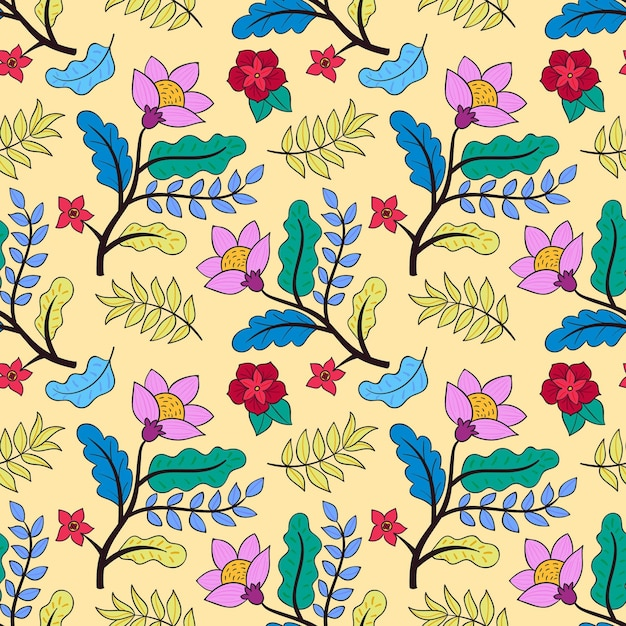 Painted tropical floral pattern Free Vector
