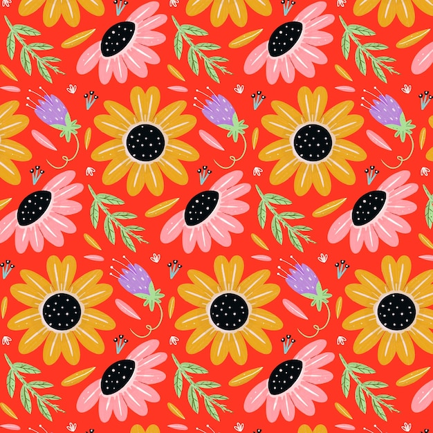 Motivo floreale tropicale dipinto Vettore gratuito