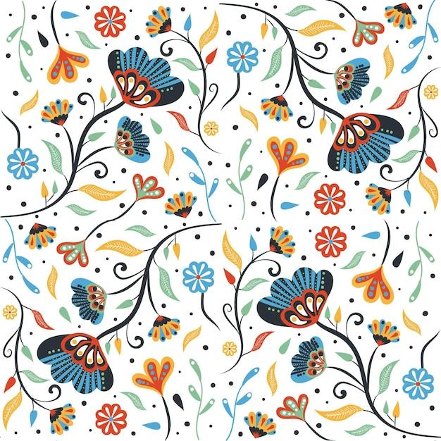 그린 된 열대 잎과 꽃 패턴 무료 벡터