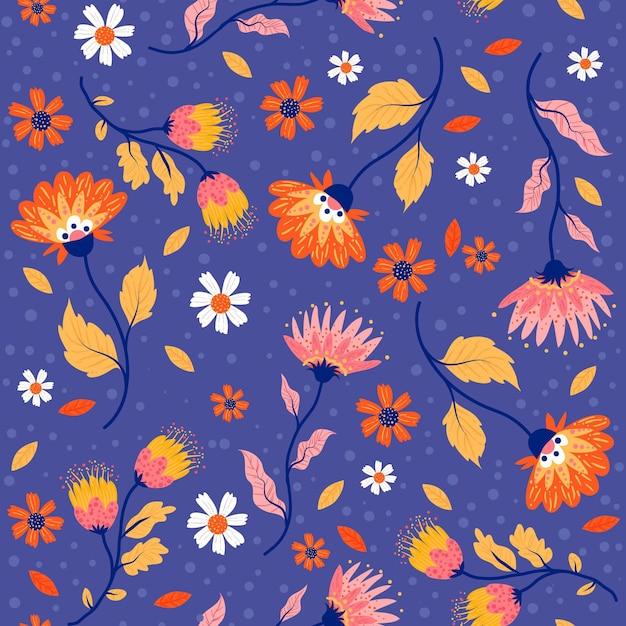 Modello tropicale dipinto di foglie e fiori Vettore gratuito