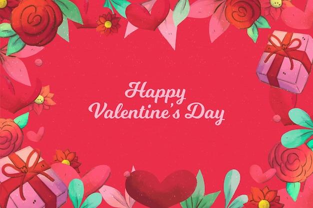 Carta da parati dipinta di san valentino Vettore gratuito