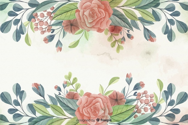Painted watercolor floral frame background Free Vector