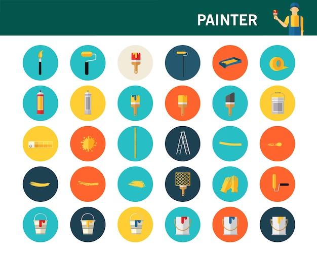 Painter concept flat icons. Premium Vector