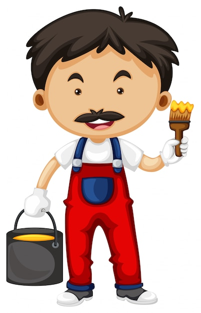Painter holding brush and bucket of paint Free Vector
