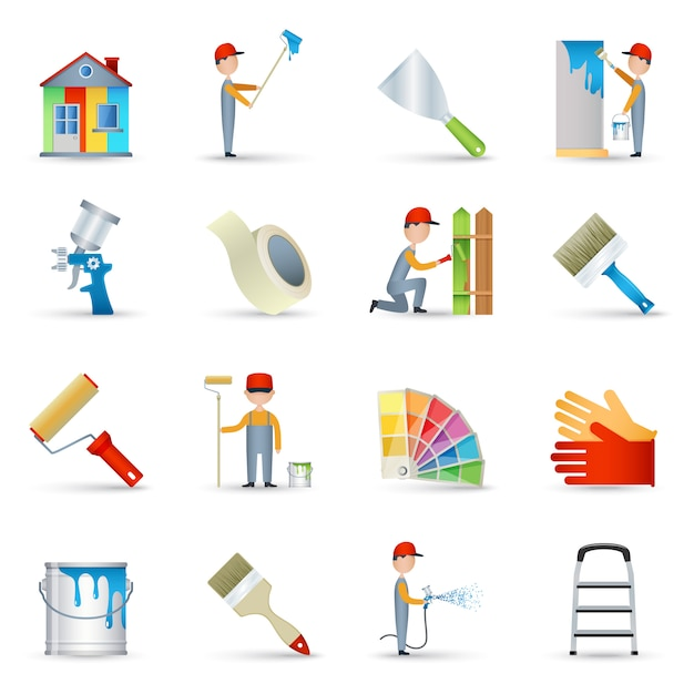 Painter icons set flat Free Vector