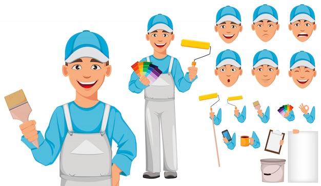 Painter man. decorator cartoon character Premium Vector
