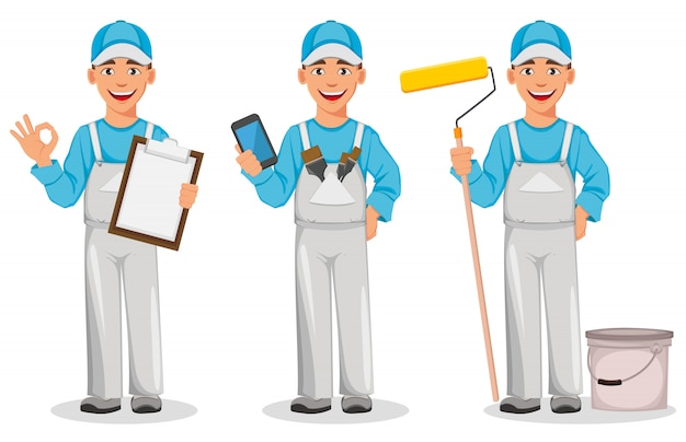 Painter man, set of three poses Premium Vector