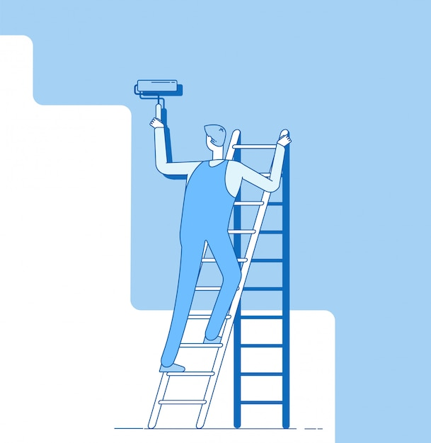 Painter painting wall. worker on ladder, craftsman paints home walls. house repair service decoration and renovation  concept Premium Vector