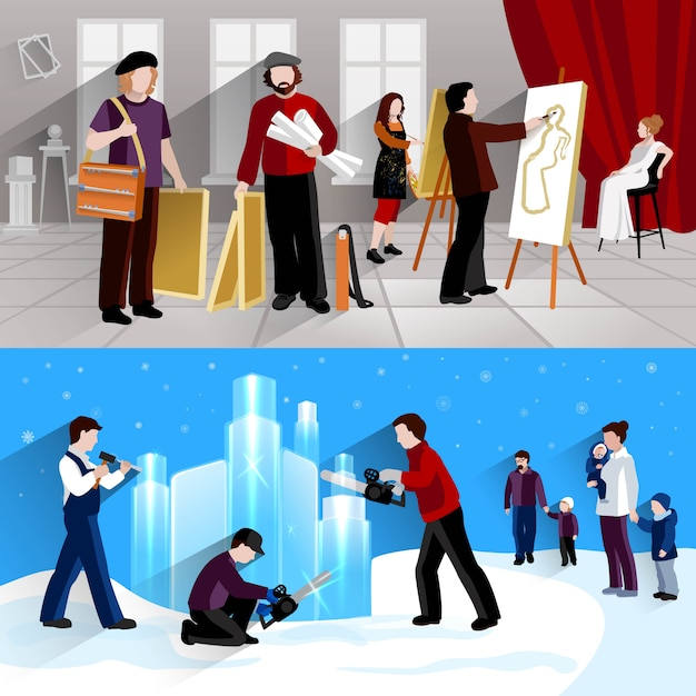 Painter and sculptor horizontal banner set Free Vector