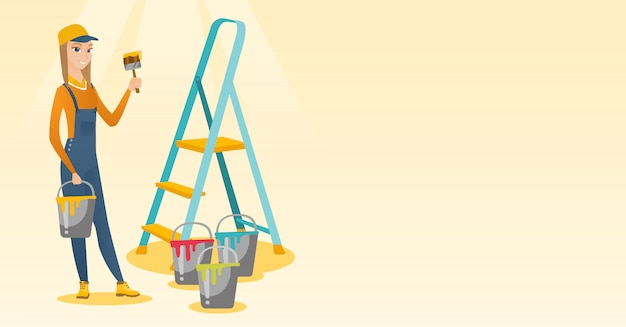 Painter with paint brush vector illustration. Premium Vector