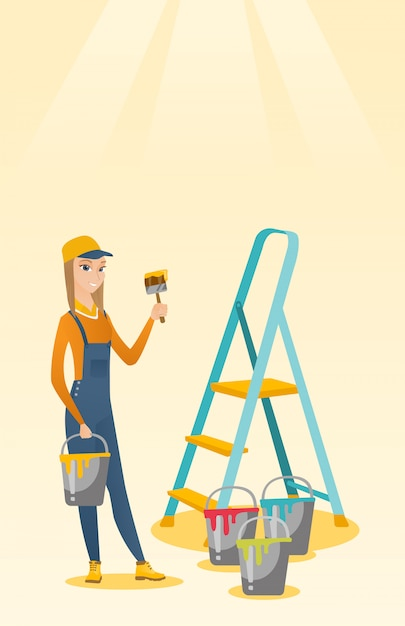 Painter with paint brush vector illustration. Premium Vector