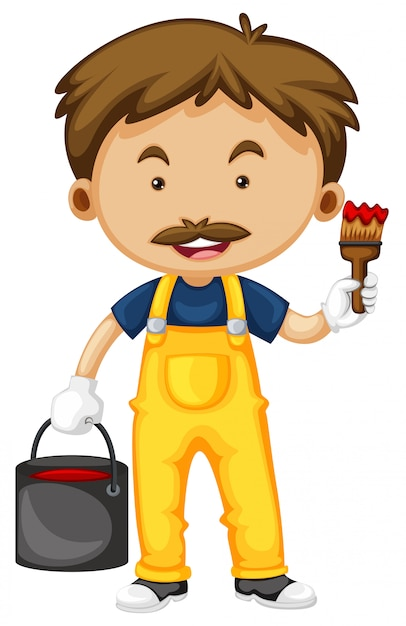Painter with paintbrush and color Free Vector