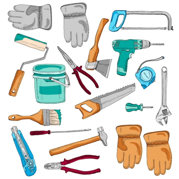 Painter working tools icons set color Free Vector