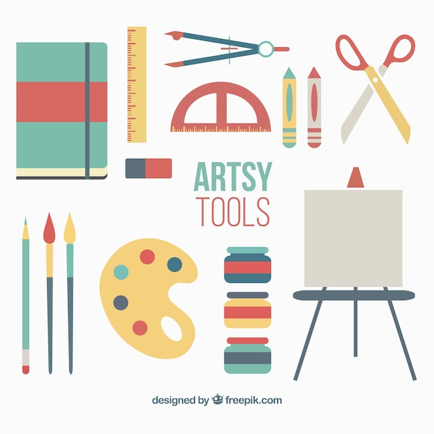 Painting accessories in flat design Free Vector