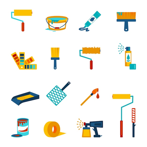 Painting icons flat Free Vector