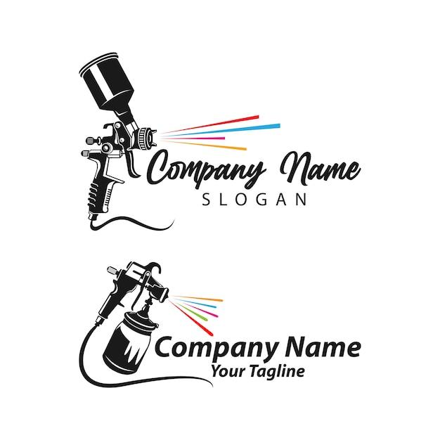 Шаблон логотипа для рисования, шаблон art logo, логотип для рисования с распылителем Premium векторы