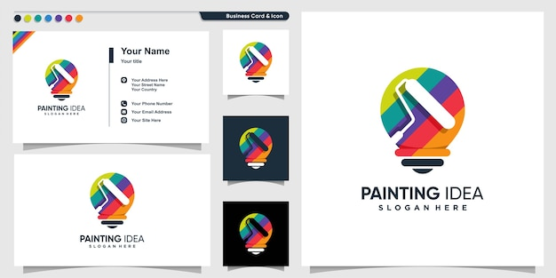 Painting logo with creative idea style and business card design template Premium Vector