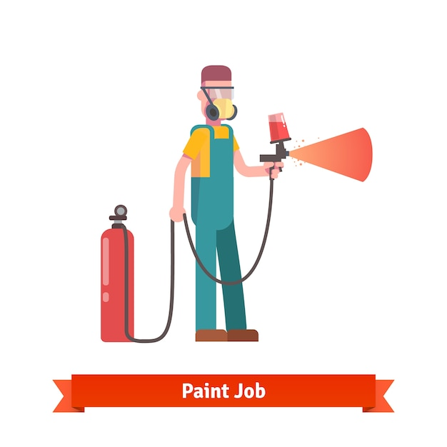 Painting specialist spraying paint from pulveriser Free Vector