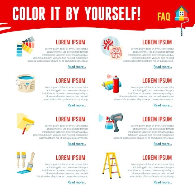 Painting work infographics Free Vector