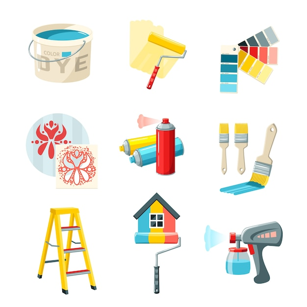 Painting work set Free Vector