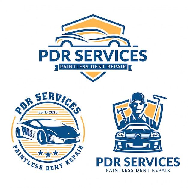 Набор логотипов paintless dent repair, пакет сервисных логотипов pdr, векторная коллекция Premium векторы