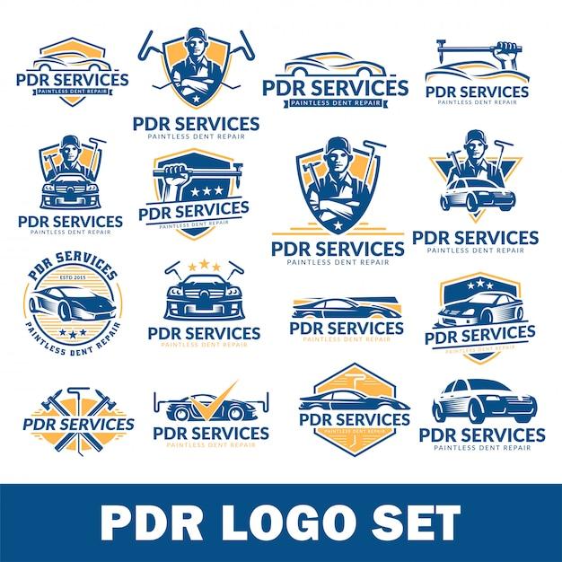 Paintless dent repairロゴセット、pdrサービスロゴパック、コレクション Premiumベクター