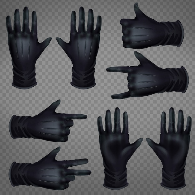 Pair of black leather gloves Free Vector