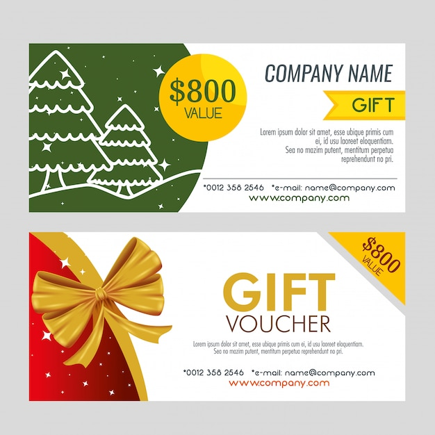 Pair Of Christmas Gift Coupon Free Vector