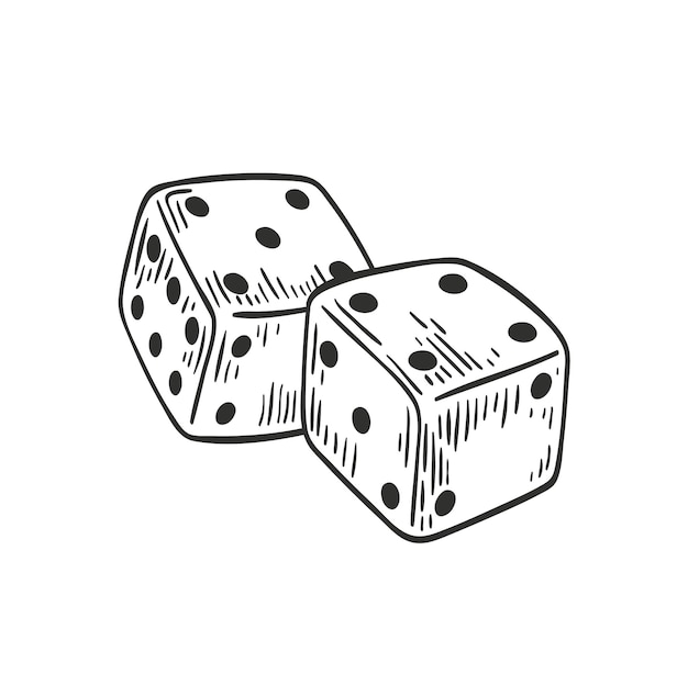 Пара кубиков, лежащих с четырьмя и пятью сверху с черными контурными линиями Premium векторы