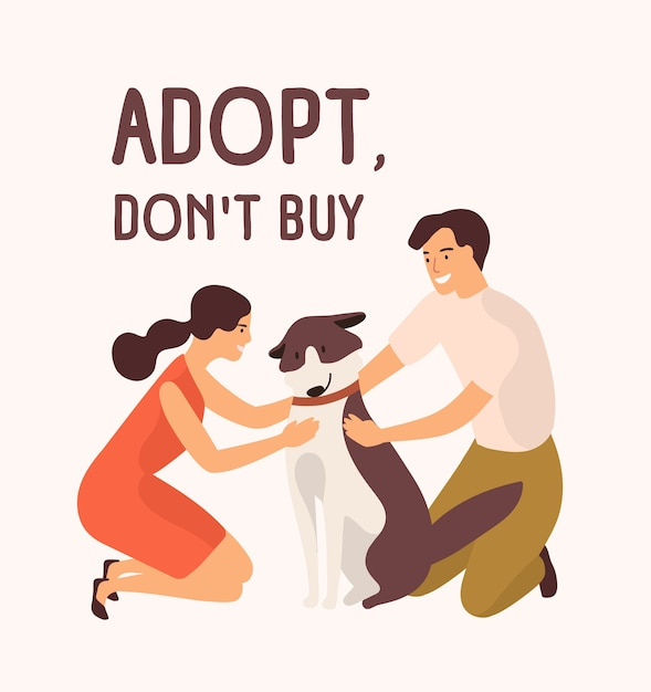 Пара счастливый мужчина и женщина обнимают милую собаку и сообщение «принять не покупай». Premium векторы