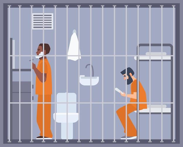 刑務所、刑務所または拘置所の部屋にいる男性のペア。 Premiumベクター
