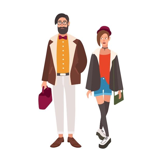 スタイリッシュなヒップスターのペア。若い男性と女性は、おしゃれな流行の服を着ています。スタイリッシュなカップル Premiumベクター