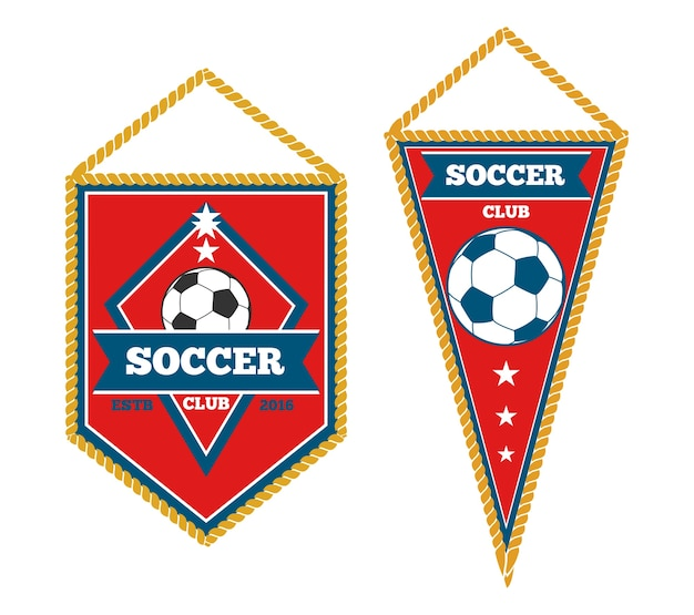 A pair of soccer pennants isolated Premium Vector