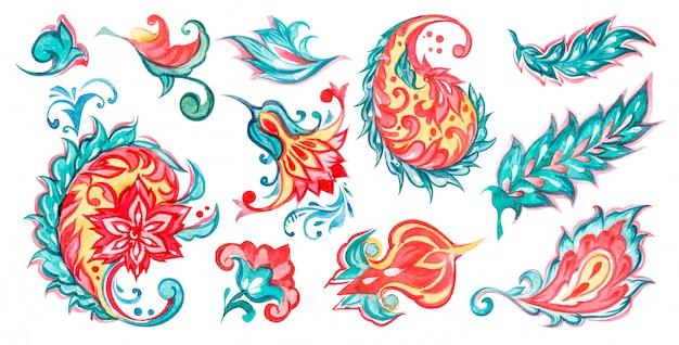 Иллюстрация акварели пейсли флористическая установила с цветами бирюзы и оранжевых цветов на белой предпосылке. Premium векторы