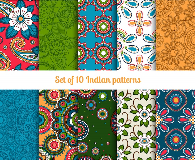 Paisley and flower indian seamless patterns Premium Vector