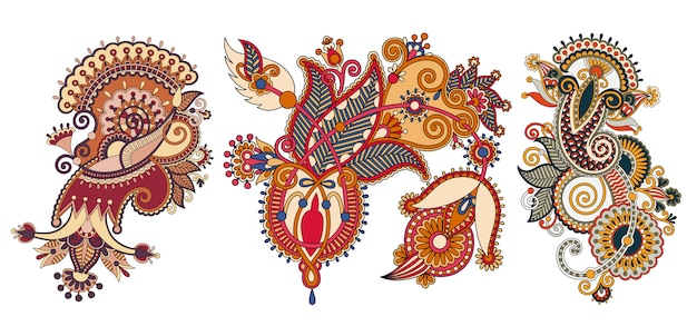 Paisley flower pattern in ethnic style Premium Vector