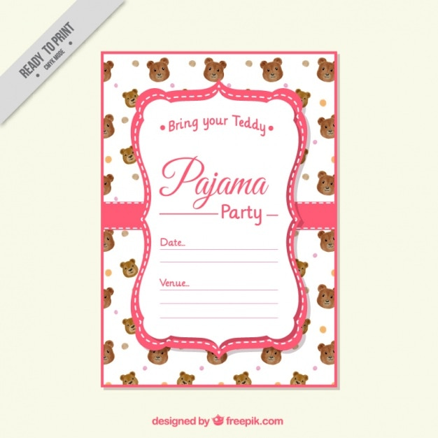 Pajama Party Invitation With Bear Vector Free Download