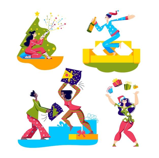 Пижамный комплект для вечеринок с героями мультфильмов в пижамах, отмечающих праздники и оставшихся на ночевку. Premium векторы