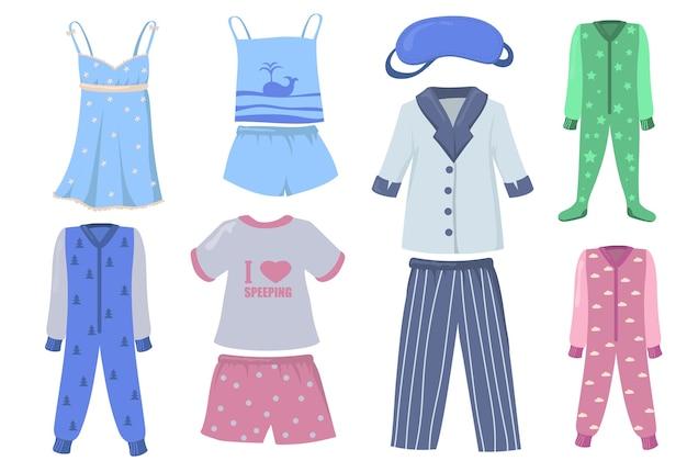 子供と大人のためのパジャマセット。シャツとズボンまたはショートパンツ、ナイトウェア、白い背景で隔離のスリーピングスーツ。就寝時、睡眠、服の概念のベクトル図 無料ベクター