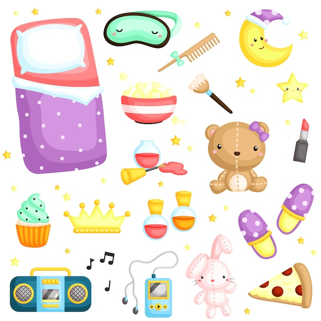 Pajamas party items Premium Vector