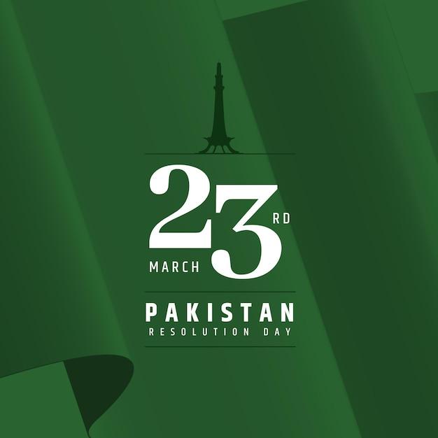 Illustrazione di giorno del pakistan con la moschea di badshahi Vettore gratuito
