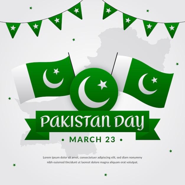 Illustrazione di giorno del pakistan con bandiere e ghirlanda Vettore gratuito